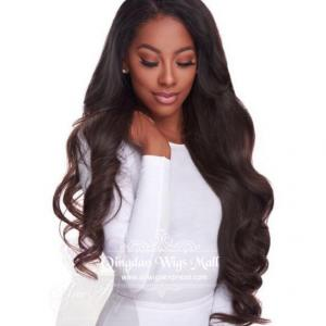 150 Density Big Body Wave Human Hair Wigs 24inch with Side Bangs