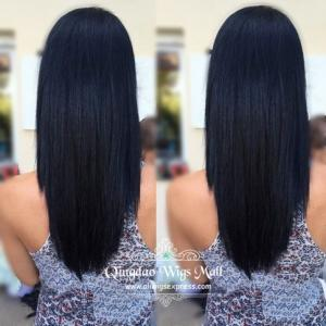 Professional Rounded V-Cut Long Black Human Hair Wigs Cheap Silky Straight 20inch