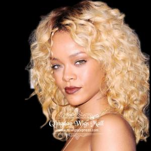 Rihannas Light Blonde Shades Medium Curly Lace Front Wigs Human Hair