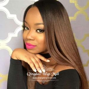 Sunkissed Soft Silky Straight Ombre Lace Front  Wigs Human Hair 18inch