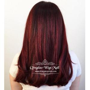 Cherry Red Highlights Natural Straight Lace Front Wigs Human Hair 18inch