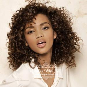 Honey Brown Medium Length Curly Lace Front Wigs Human Hair