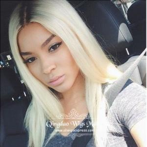 Silky Straight Blonde Layered Celebrity Lace Wigs 16inch