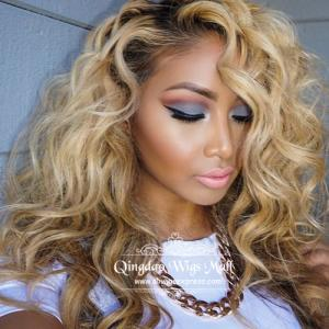 Blonde Hair Frizzy Wavy Celebrity Human Hair Wigs 18inch