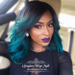 Cute Natural Layered Waves Green Ombre Human Hair Lace Front Wigs 16inch