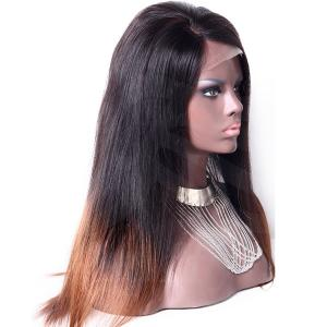 2016 Latest Long Straight Hair Ombre 2 Tones Celebrity Human Hair Wigs