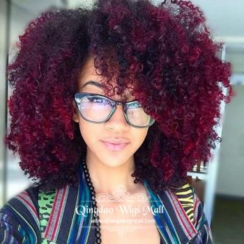 Red Burgundy Highlights Black Human Hair Wigs For African Americans
