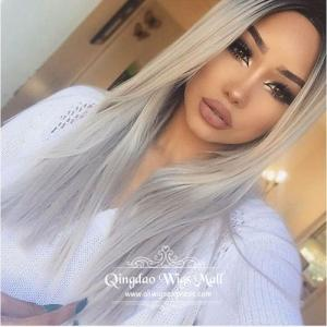 Silver White Black Ombre Soft Straight Human Hair Lace Front Wigs 18inch