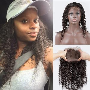 Pre Plucked Kinky Curly Hair 360 Lace Virgin Hair Natural Hairline 360 Lace Frontal Closure