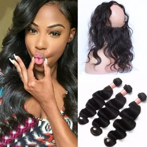 Indian remy hair 360 lace frontal with bundle pre plucked deep wave