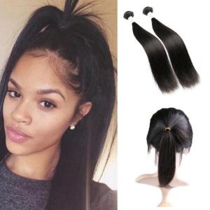Brazilian virgin hair 360 lace frontal with bundle kinky straight hair