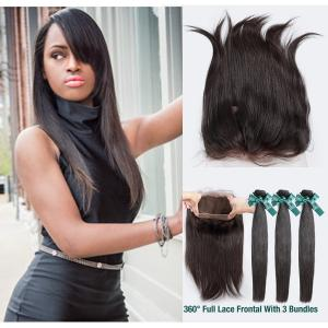 Cheap 3pcs brazilian virgin hair silky straight 360 lace frontal with bundle