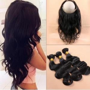 Malaysian virgin wavy human hair 360 lace frontal with bundle body wave