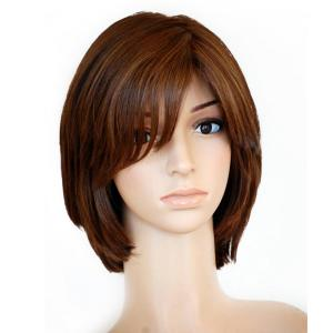 Short Silk Top Lace Front Wig Straight Layered Brazilian Virgin Hair