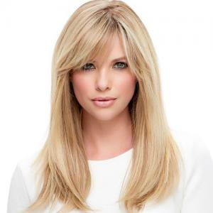 New Arrival High Quality Glueless Silk Top Full Lace Wigs With Straight Bangs