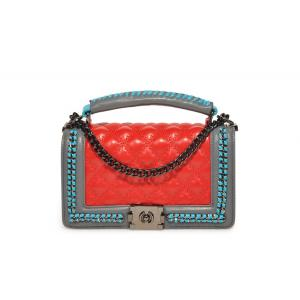 Contrast Color weave Chain Handbag