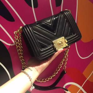 Black Handbag with gold chain Small/Medium