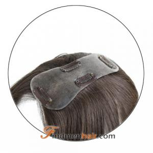 Human Hair Women's Toppers With Clips For Thinning Parting