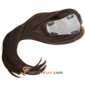 Natural Looking Dark Brown French lace Top Human Hair Piece Extensions
