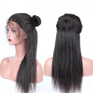 150 180 250 High Density Coarse Yaki Straight Human Hair Lace Front Wigs For Sale