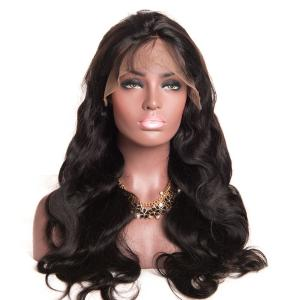 Super Charming Loose Wavy Heavy Density Black Human Hair Lace Front Wigs 20 inch