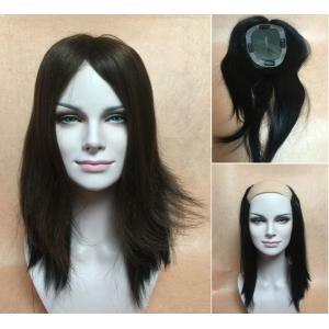 Swiss Mono &PU Wiglet Topper Black 100%-Human Hair Add-On Fall top piece Bangs