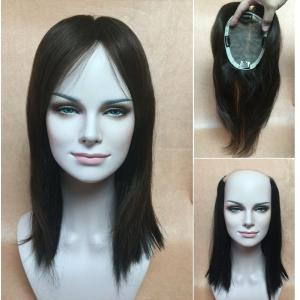 SILK TOP human hair wiglets topper Add-On Fall top piece Bangs 16 20 24 4fef65e6ea
