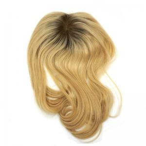 Dark Rooted Ombre Blonde Human Hair Toppers Collection Mono Top Volume Wigs